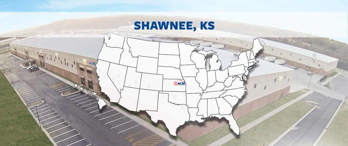 ACM Shawnee, KS U.S. regional map and manufacturing building
